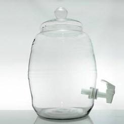 Barril de Vidro Com Torneira Plástica e Tampa de Vidro